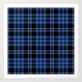 Blue & White Scottish Tartan Plaid Pattern Art Print