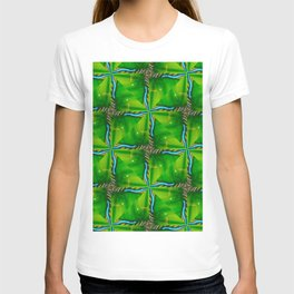 Abstract green and blue organic painting geometric design T-shirt