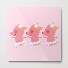 3 Little Piglets Ballerina Metal Print