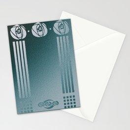 Charles Mackintosh inspired Art Nouveau teal Design,Charles Mackintosh,inspired ,Art Nouveau, teal Design,rose,flower,vintage,Belle epoque,pattern,elegant,chic Stationery Cards