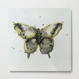 Yellow and Gray Butterfly Metal Print