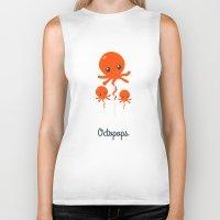 octopus Biker Tanks featuring Octopus by Jane Mathieu