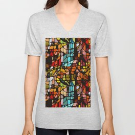 Stained, Colored, Scattered Unisex V-Neck