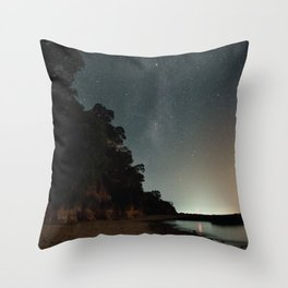 Milky way landscape at the coast of 'Colonia, Uruguay' Throw Pillow