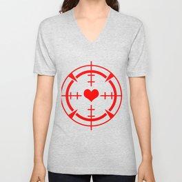 Crosshair Heart Valentines Day Hearts Day Love Gift Unisex V-Neck