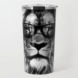 Hipster Lion Black Travel Mug