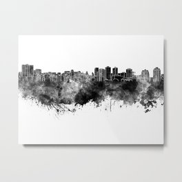 Halifax skyline in black watercolor on white background Metal Print