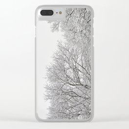 Snow covered tree tops Clear iPhone Case