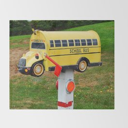 School Bus Mailbox Throw Blanket