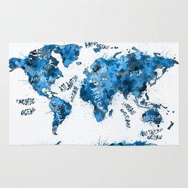 world map color splatter blue Rug