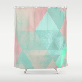 Pink and Mint Geometric Composition  Shower Curtain