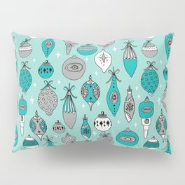 Ornaments christmas vintage classic turquoise and white hand drawn christmas tree ornament pattern Pillow Sham