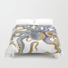 Octopus Tentacles Steel Blue Watercolor Art Duvet Cover