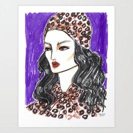 Girl in Leopard Print – Original Fashion art, Fashion Illustration, Fashion wall art Art Print