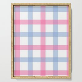 Pink and Blue Gingham Serving Tray