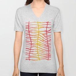 Red-yellow stripes Unisex V-Neck