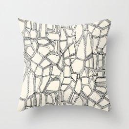BROKEN black off white Throw Pillow