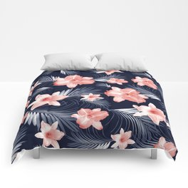 Tropical Flowers Palm Leaves Finesse #6 #tropical #decor #art #society6 Comforters