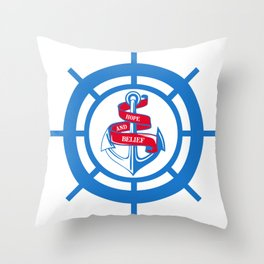 Anchor and steering wheel Throw Pillow