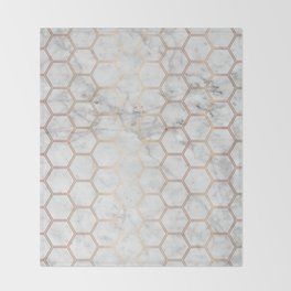 Honeycomb Marble Rose Gold #358 Throw Blanket
