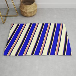 Light Yellow, Dark Salmon, Blue, and Black Colored Striped/Lined Pattern Rug