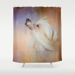 Wind In Her Hair - Chinese Crested Hairless Dog Shower Curtain