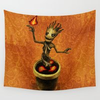 groot Wall Tapestries featuring Groot by Anna Shell