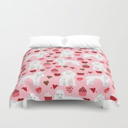 Toy poodle white poodles valentines day cupcakes love hearts dog breed pet portrait pattern gifts pe Duvet Cover