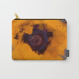 Bright Yellow Poppy Painting Blue Gray Background Carry-All Pouch