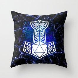D20 Viking Mjolnir Splatter Throw Pillow