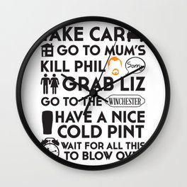 SHAUN OF THE DEAD THE PLAN Wall Clock