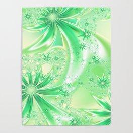 Pastel Green Wildflowers Poster