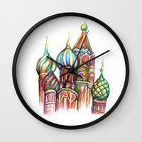 russia Wall Clocks featuring Russia by Lam Designs
