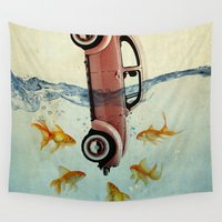 vw Wall Tapestries featuring VW beetle and goldfish by Vin Zzep