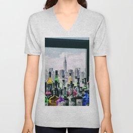 Aperitifs in New York Landscape Painting Unisex V-Neck