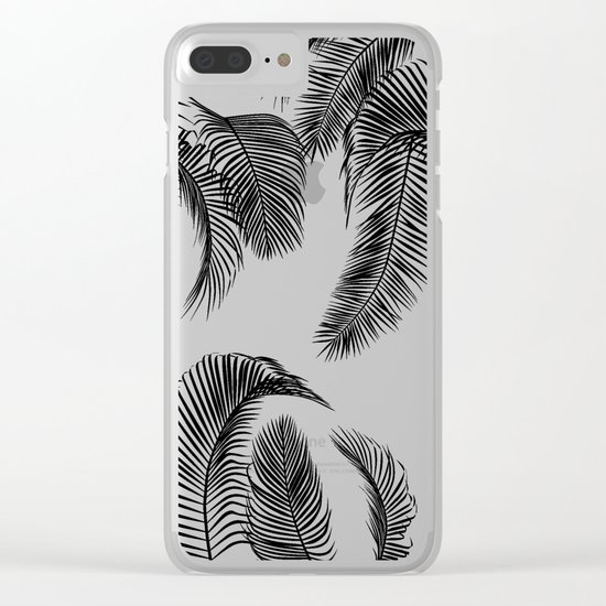 Black palm tree leaves pattern Clear iPhone Case