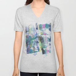 Green Blue Abstract with Black Circles Unisex V-Neck