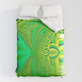 Lemon Lime Cool Summer Day, Fractal Dreams in Green Comforters