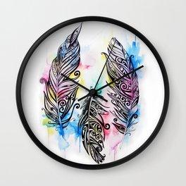 Koru Feathers  Wall Clock