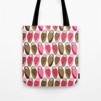 owls Tote Bags featuring Owls by Lydia Meiying
