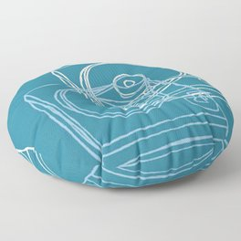 Blue Record Player Floor Pillow