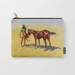 """Frederic Remington Western Art """"Hunted Down"""" Carry-All Pouch"""