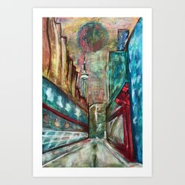 City,original painting,oil,canvas,Toronto,cityscape,abstract,art,perspective,wall artwork,colourful, Art Print