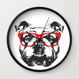 Portrait of English Bulldog with glasses. Wall Clock