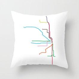 Chicago CTA Map, Chicago Train Map Art, Chicago L Train Map, Chicago Art, Chicago Wall Art, Map Art Throw Pillow