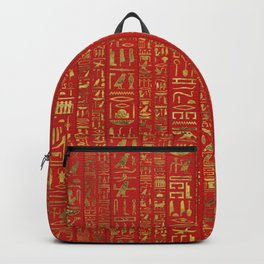 Egyptian hieroglyphs gold on red leather Backpack