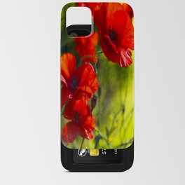 Red Poppies on green background #decor #society6 #buyart iPhone Card Case