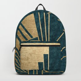 Art Deco glamour - teal and gold Backpack