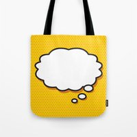 comic book Tote Bags featuring Comic Book THINK by The Image Zone