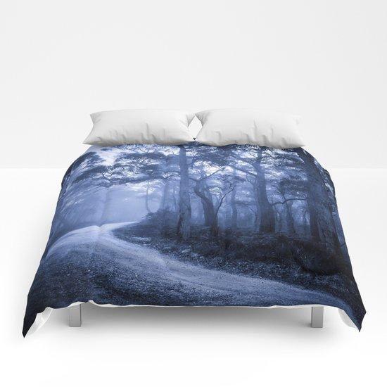 Dark Misty Road Comforters